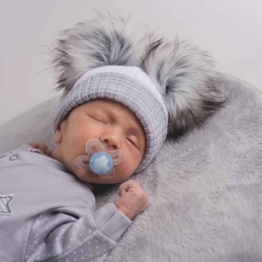 First Size White And Grey Ribbed Fur Double Pom Hat