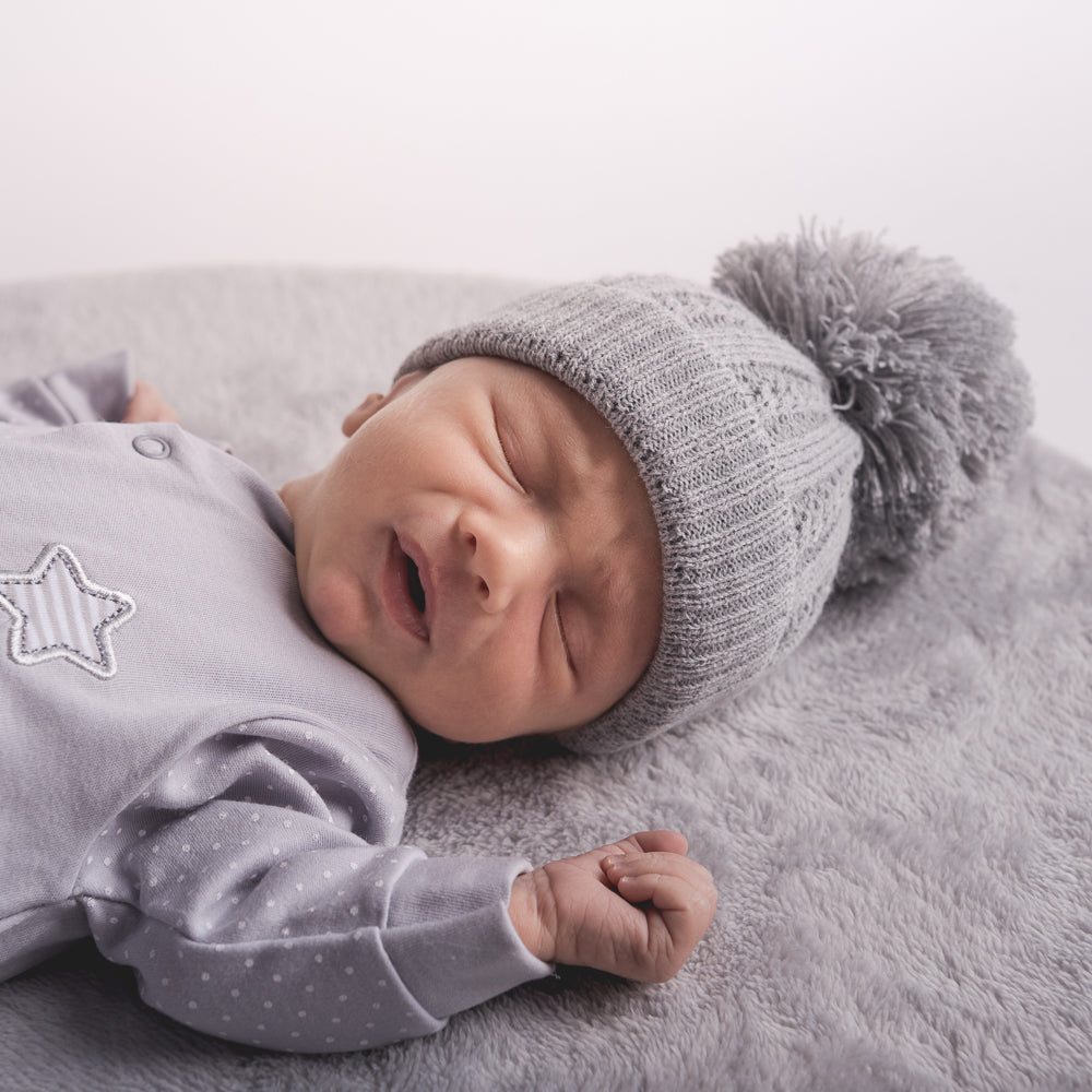 First Size Grey Cable Pom Hat