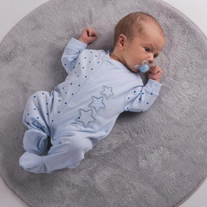 Boys Blue Triple Stars Cotton Sleepsuit