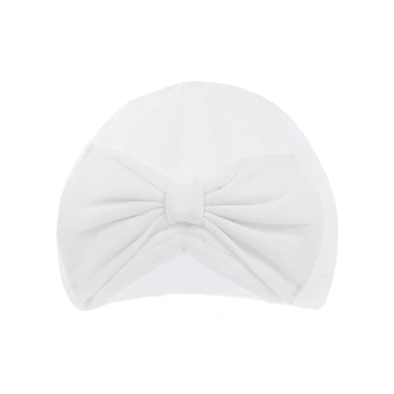 White Turban Hat With Bow