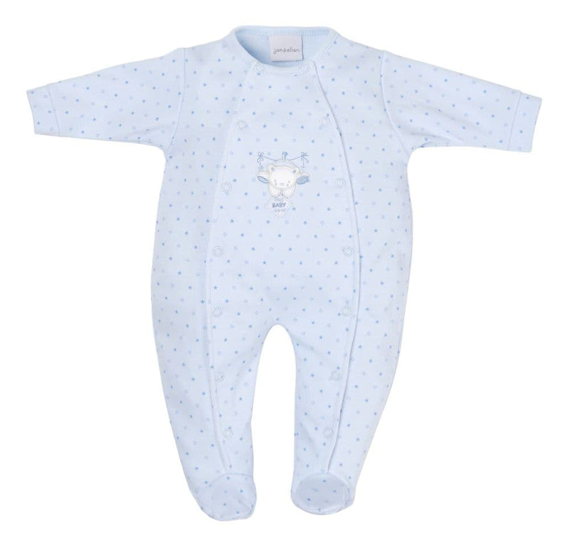 Blue 'Hanging Bear' Star Print Sleepsuit