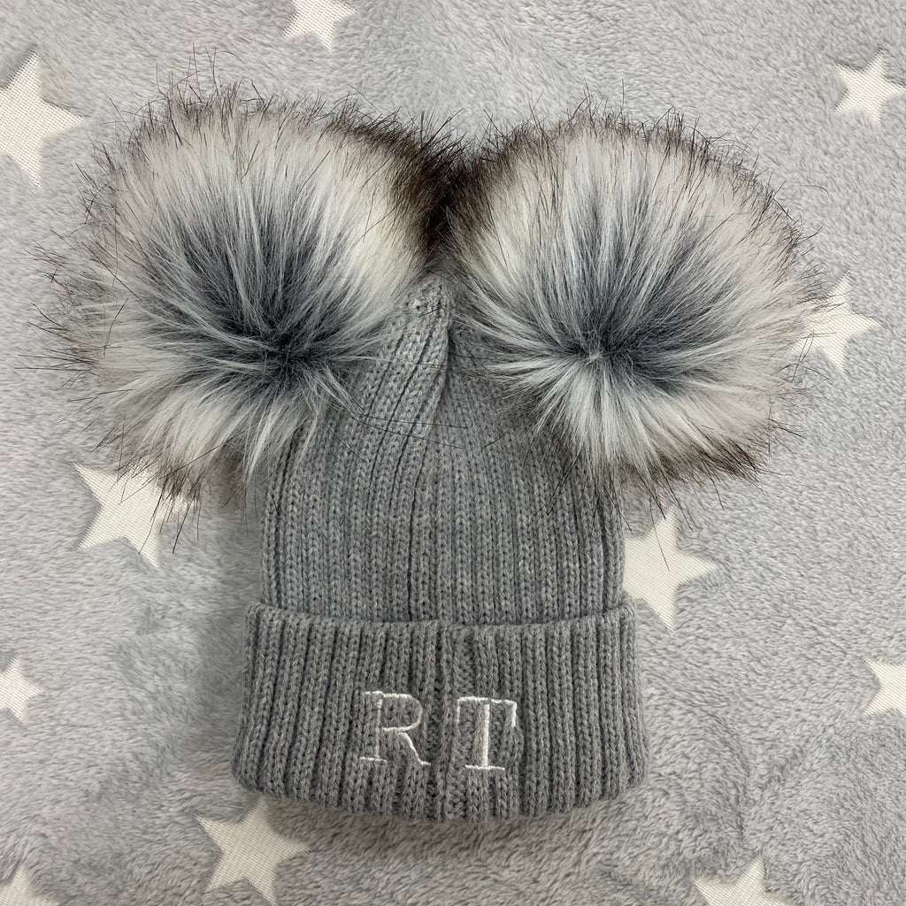 Personalised Initial Grey Double Pom Hat