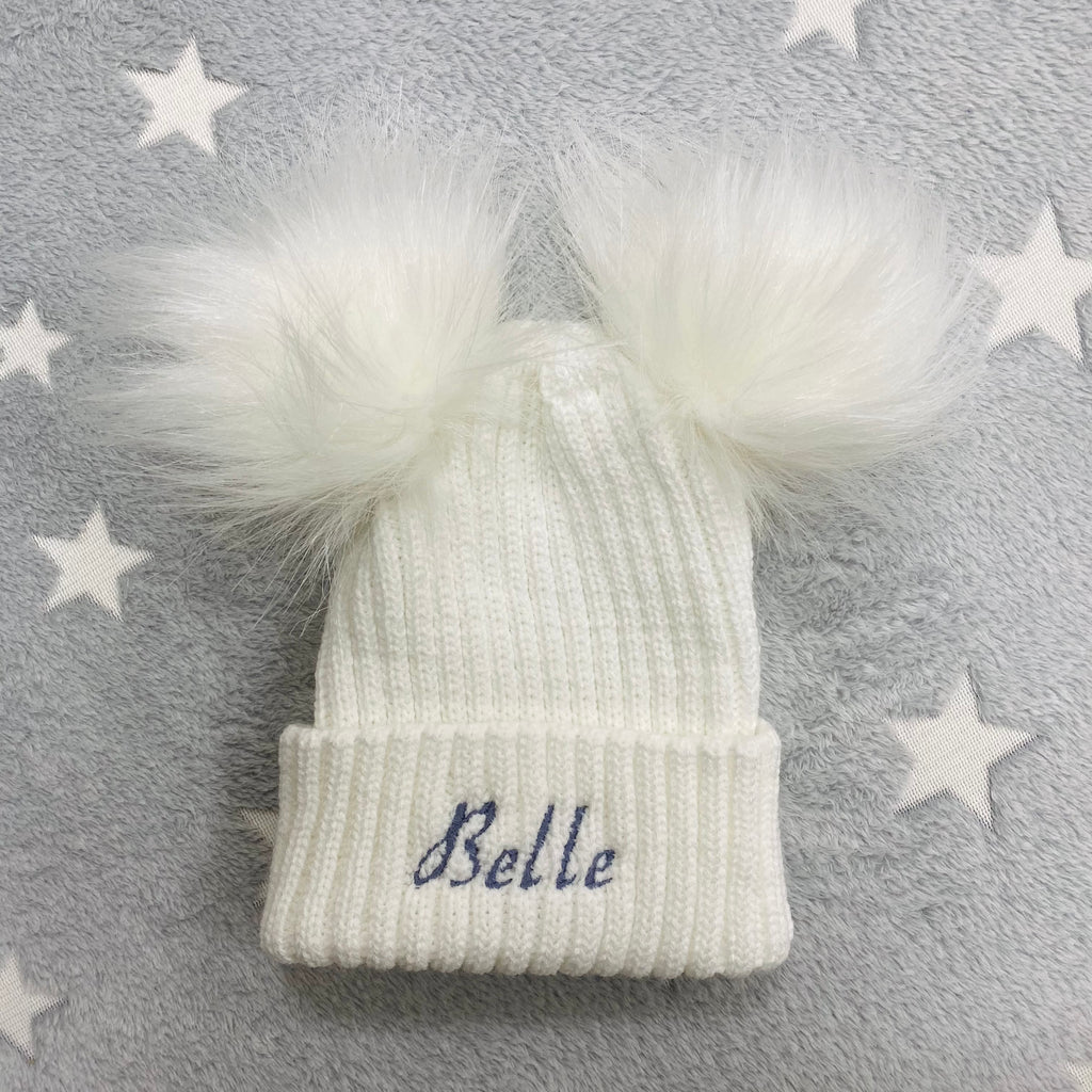 Personalised Name White Double Pom Hat