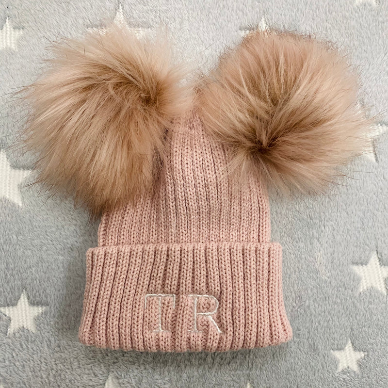 Personalised Initial Rose Gold Double Pom Hat