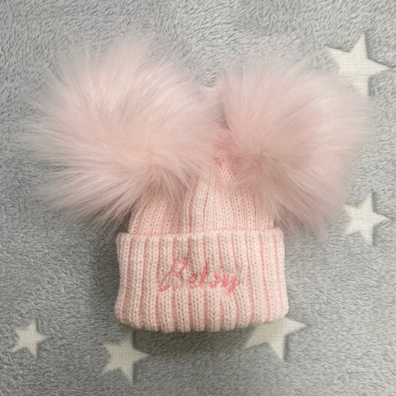 Personalised Name Pink Double Pom Hat