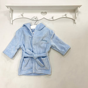 Blue Personalised Embroidered Dressing Gown