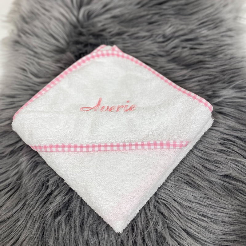 Personalised White and Pink Gingham Hooded Towel