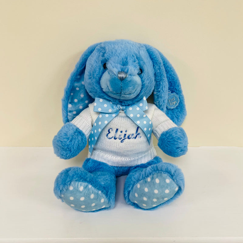 Blue Spotty Bunny With Personalised Embroidered Jumper