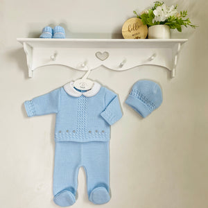 Blue Knitted 3 Piece Set With Hat