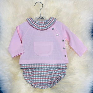 Pink Checked Collar Top And Jam Pants