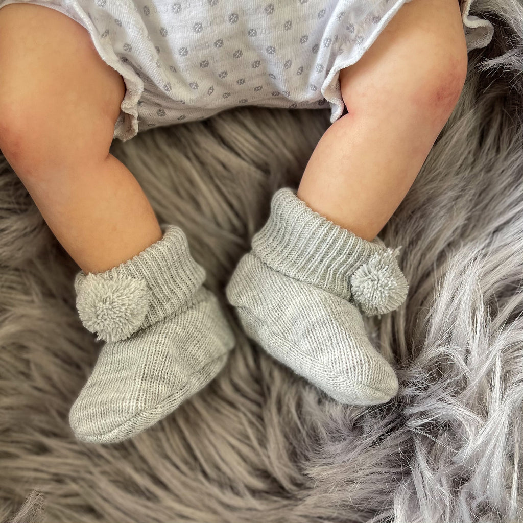 Grey Pom Pom Booties