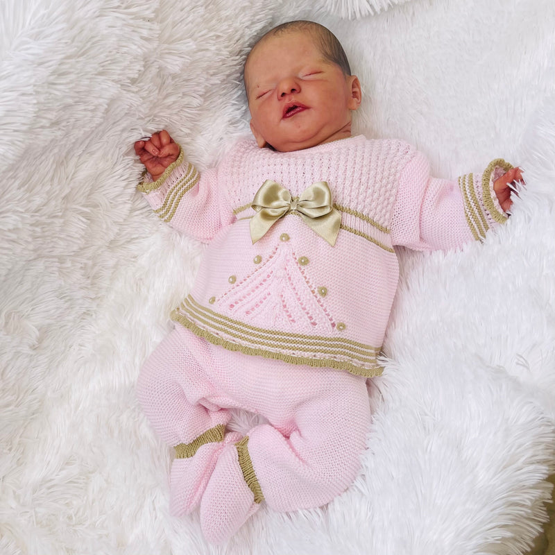 Millie & Ralph Pink & Gold Bow Knitted Set