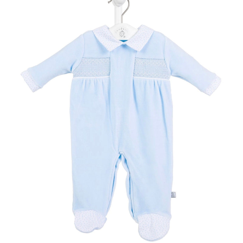 Blue Smocked Velour Sleepsuit