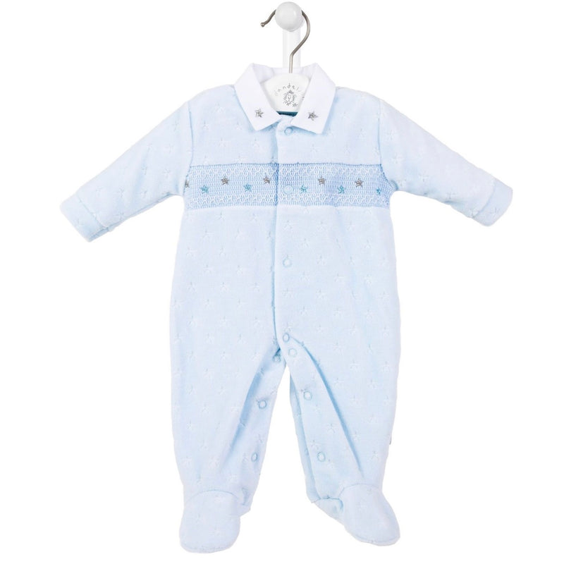 Blue Star Smocked Sleepsuit