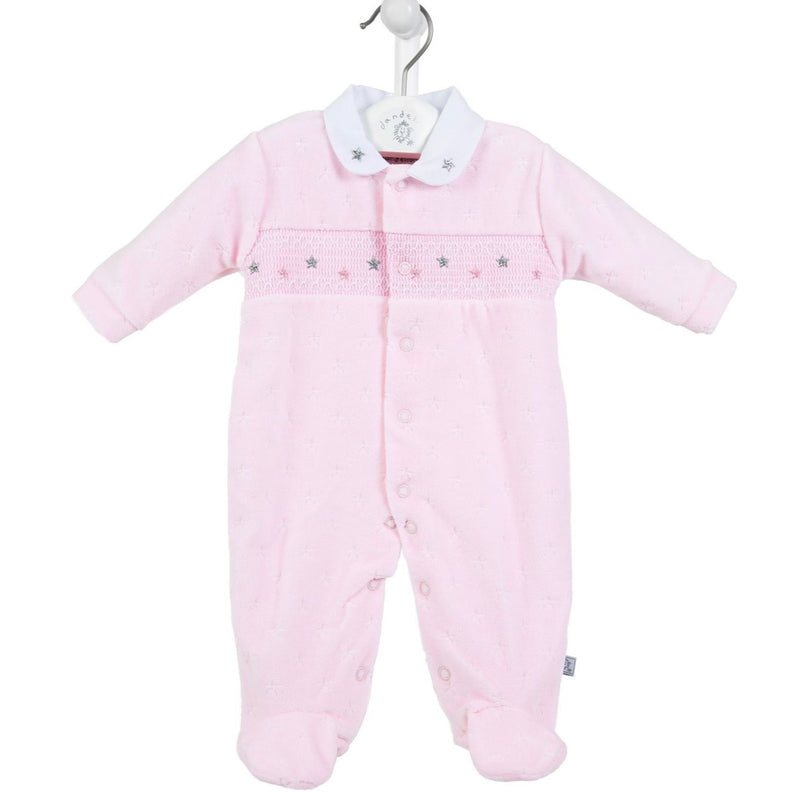 Pink Star Smocked Sleepsuit
