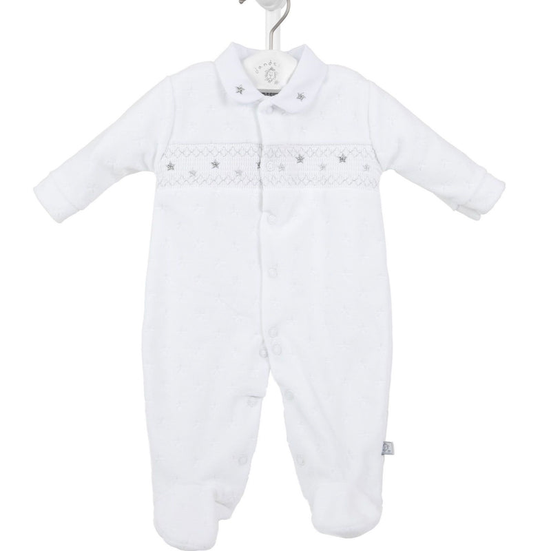 White Star Smocked Sleepsuit