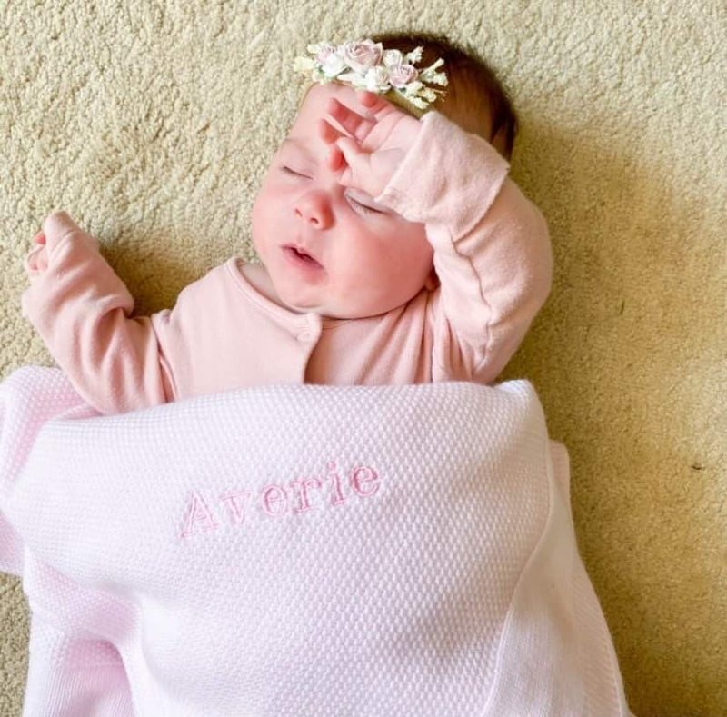 Personalised Pink Embroidered Name Shawl