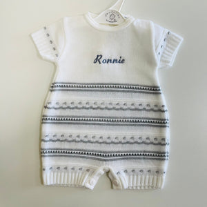 Personalised Grey Pointelle Romper