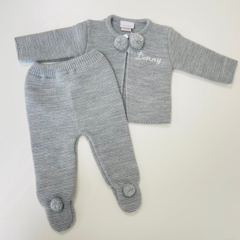Personalised Grey Knitted Pom Outfit