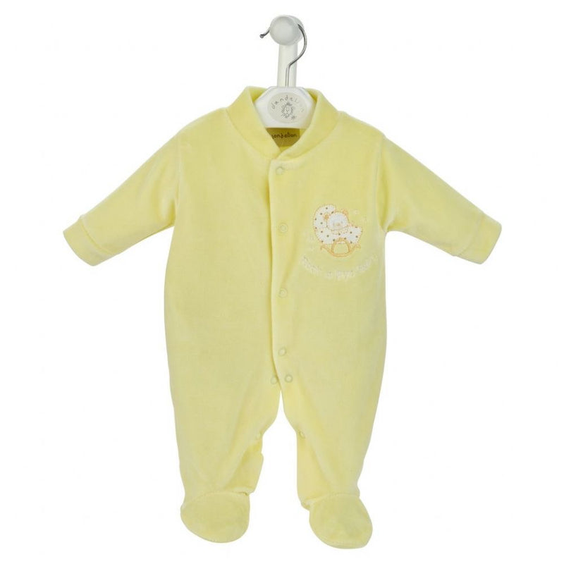Lemon 'Rock-a-bye Baby' Velour Sleepsuit