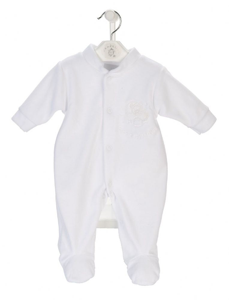 White 'Rock-a-bye Baby' Velour Sleepsuit