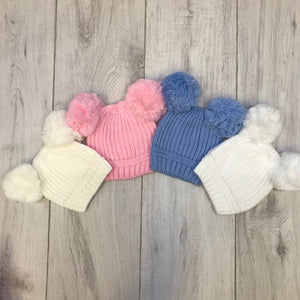 White Knitted Double Pom Hat