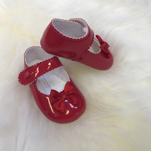Girls Red Bow Pram Shoes