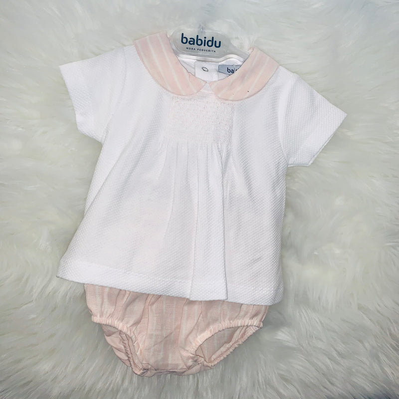 Babidu Salmon & White Smocked Top & Shorts Set