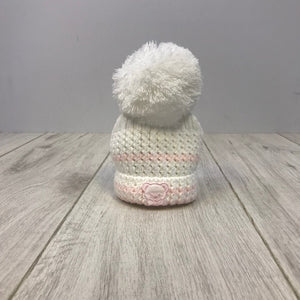 White/Pink Knitted Stripe Pom Hat With Teddy