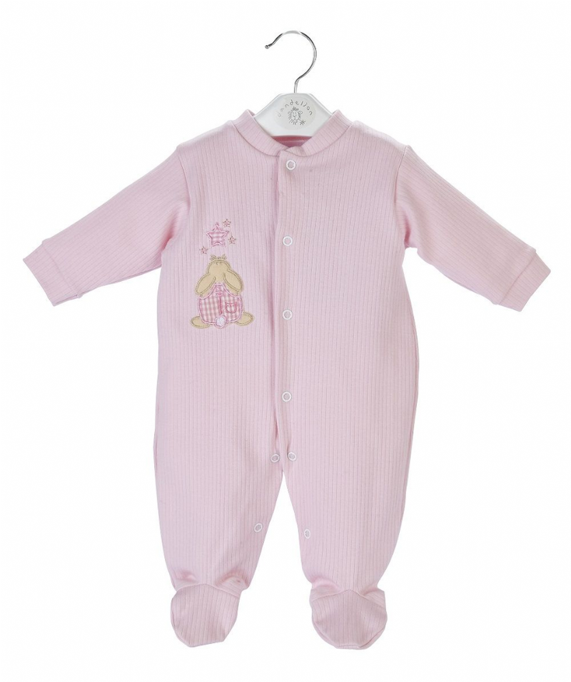 Pink Rabbit & Star Ribbed Sleepsuit