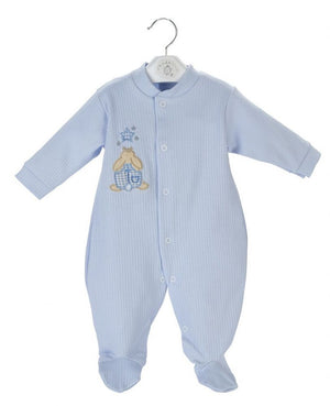 Blue Rabbit & Star Ribbed Sleepsuit