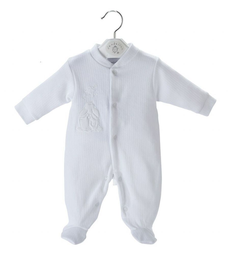 White Rabbit & Star Ribbed Sleepsuit