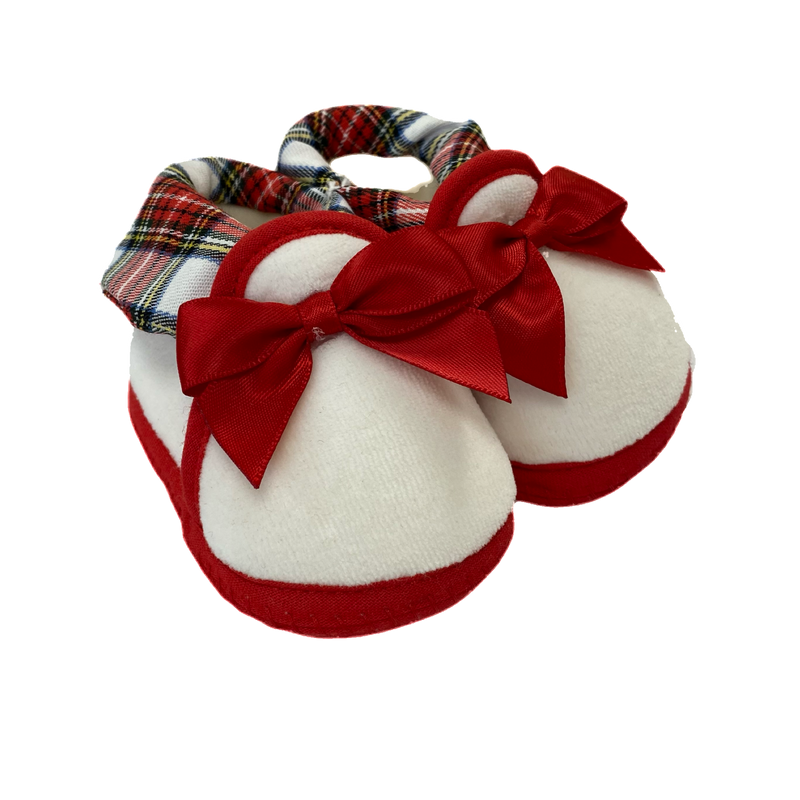Red & White Tartan Bow Booties