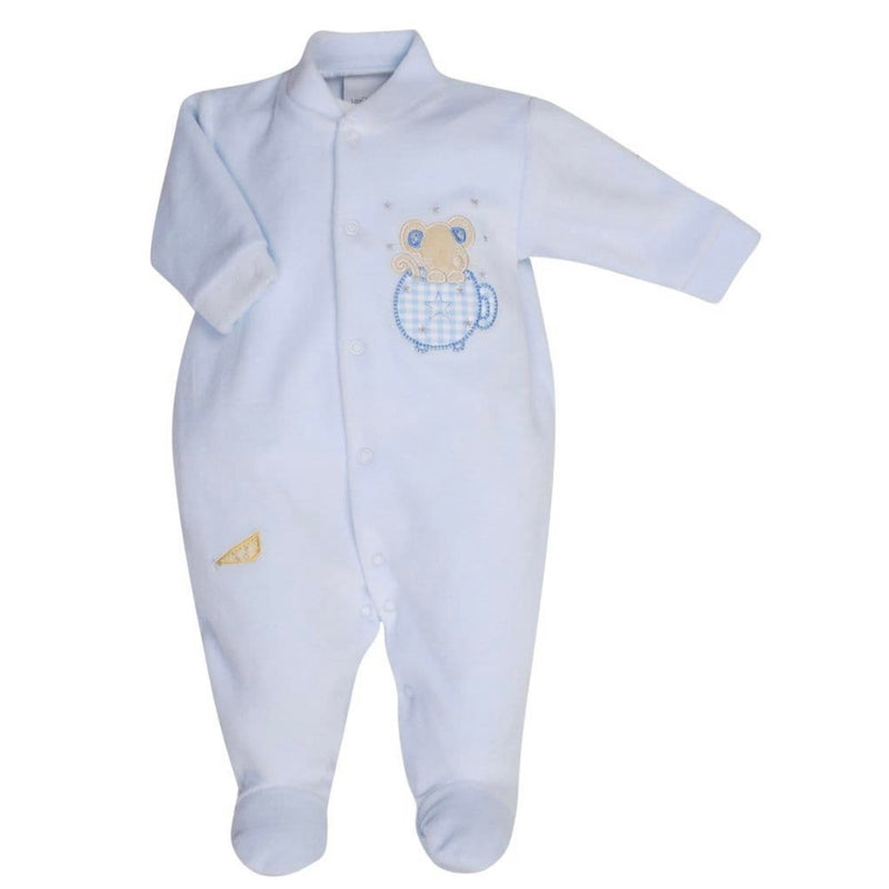 Blue Mouse & Tea Cup Velour Sleepsuit