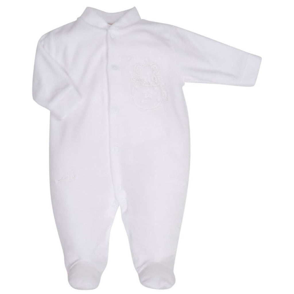 White Mouse & Tea Cup Velour Sleepsuit