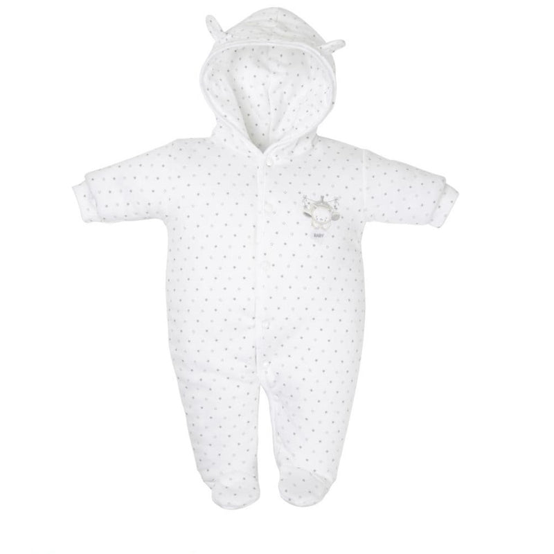 White Tiny Bear Cotton Pramsuit