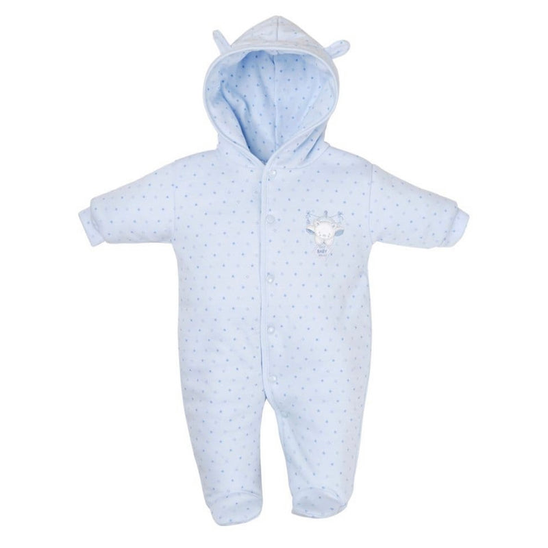 Blue Tiny Bear Cotton Pramsuit