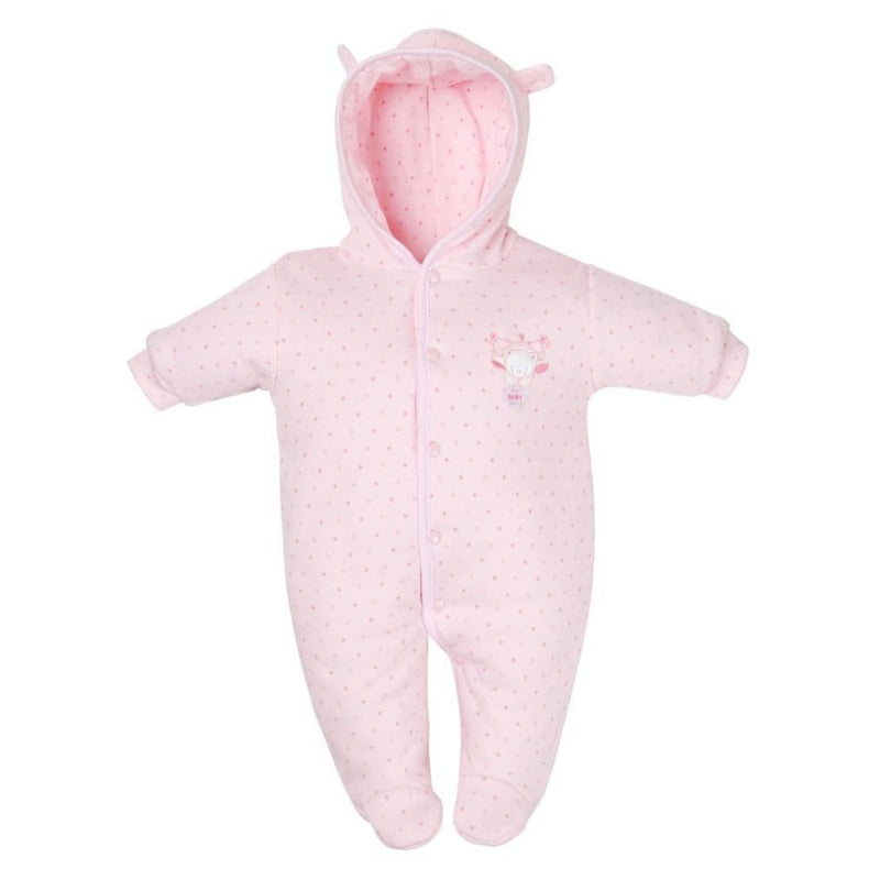 Pink Tiny Bear Cotton Pramsuit
