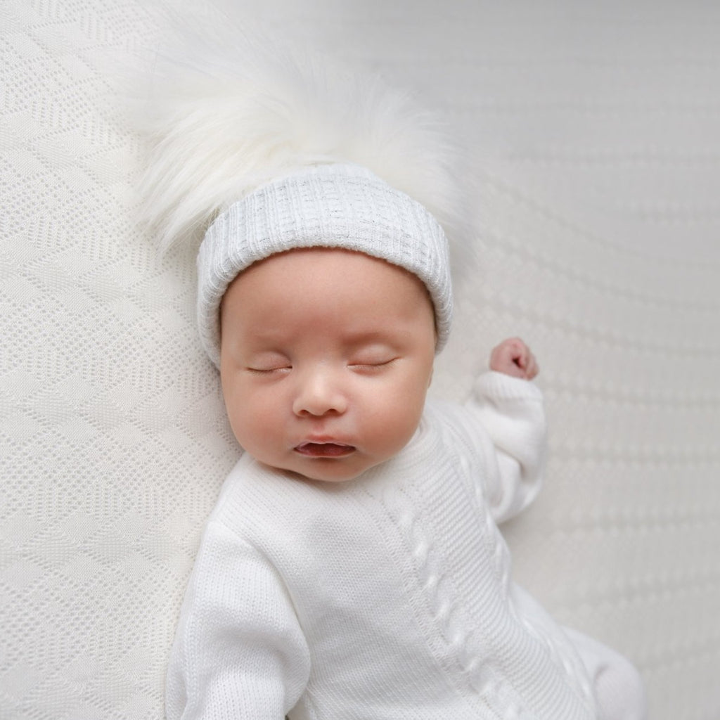 First Size White & Silver Ribbed Fur Pom Hat