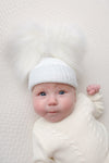 First Size White And Silver Ribbed Fur Double  Pom Hat