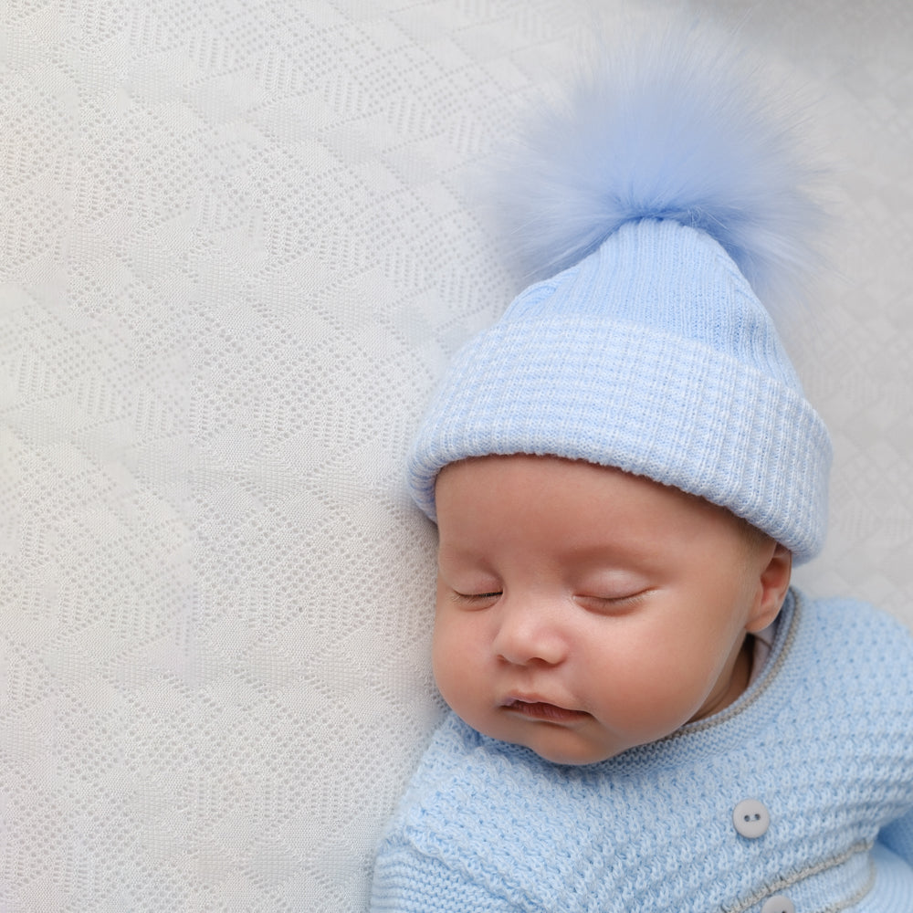 First Size Blue Ribbed Fur Pom Hat