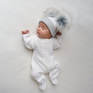 Unisex White Cable Knitted Onesie