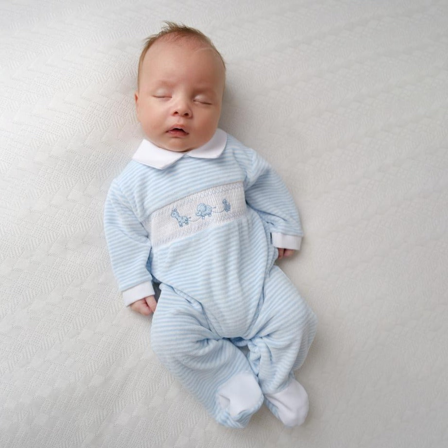 Blue Striped Toy Smocked Sleepsuit