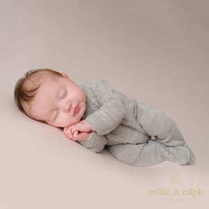 Grey Cable Knitted Onesie