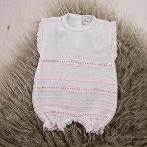 Pink & White Knitted Pointelle Romper