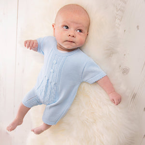 Boys Knitted Blue Romper