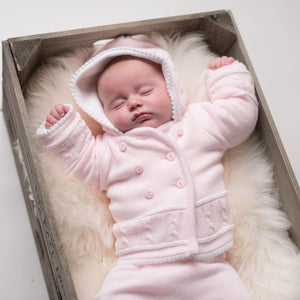 Girls Pink & White Knitted Jacket