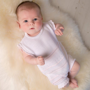 Girls Knitted Pointelle Romper