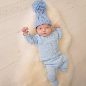 Boys Blue Knitted Cable Two Piece Set