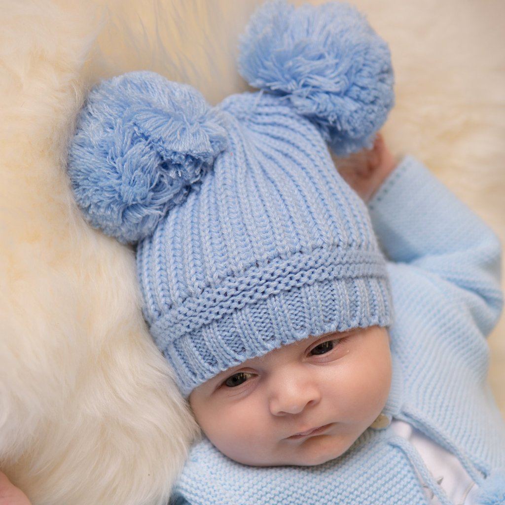 Blue Knitted Double Pom Hat